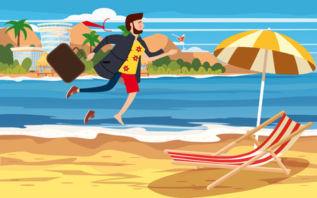 Illustration pour Transition to Vacation. Businessman in business clothes making the transition from a separate image from a suit and office to casual clothes on a beach holiday - image libre de droit