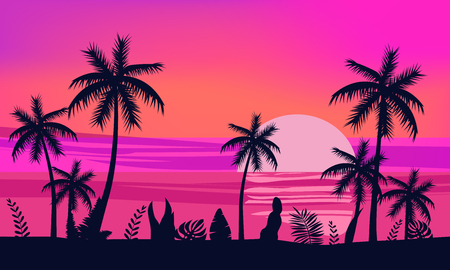Illustration for Summer holiday season. Tropical exotic beach sunset ocean sea. Silhouettes of palm trees, jetty, sun. Vector, illustration, isolated, poster, banner, invitation - Royalty Free Image