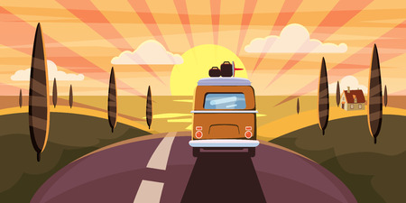Illustration pour Sunset Van camper, bus on the road goes to the sea for a summer vacation - image libre de droit
