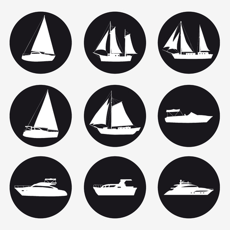 Illustration for Set icons Ship, pleasure boat, speed boat, cruise ship, luxury yacht on black background for graphic and web design. Simple vector sign. Internet concept symbol for website button or mobile app - Royalty Free Image