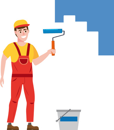 Illustration for Painter man paints the wall is holding a paint roller in hand, profession, character, uniform, bucket - Royalty Free Image
