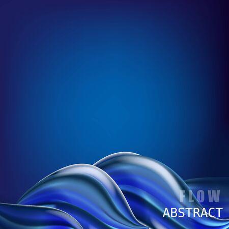 Illustration pour Trendy abctract colorful flow poster, baner, template. Wave Liquid shape in blue color - image libre de droit