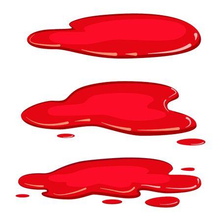 Illustration for Set puddle blood liquid, pool plash vector, cartoon style, isolated, illustration, on a white background - Royalty Free Image