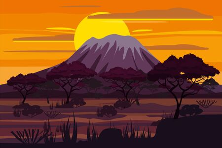 Illustration for African sunset landscape savannah wild nature. Grass, bushes, acacia trees and mountains. The nature of Africa. Reserves and national parks. Vector illustration isolated cartoon style - Royalty Free Image