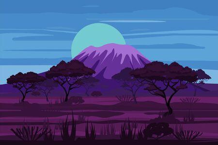 Illustration pour African night landscape savannah wild nature. Grass, bushes, acacia trees and mountane - image libre de droit