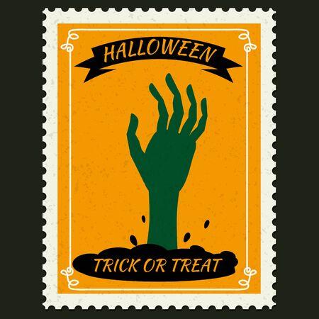 Ilustración de Happy Halloween Postage Stamps with hand of the risen dead zombie, halloween cartoon character symbol. Vector isolated retro vintage - Imagen libre de derechos