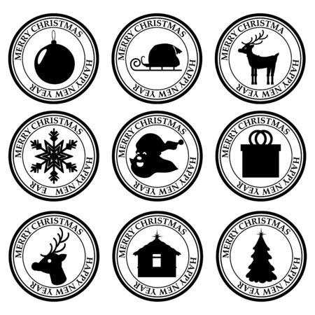 Foto für Merry Christmas And Happy New Year set dirty post stamp icon isolated on white vector - Lizenzfreies Bild