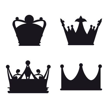 Illustration pour Set Crown Icon Royal, luxury symbol King, Queen. Vector illustration logo, app, UI isolated - image libre de droit