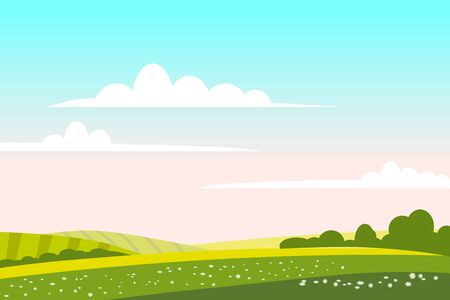 Illustration pour Countryside landscape green hill. Panorama nature fields blue sky clouds sun rural. Green tree and grass rural land. Flat cartoon trendy style vector illustration - image libre de droit