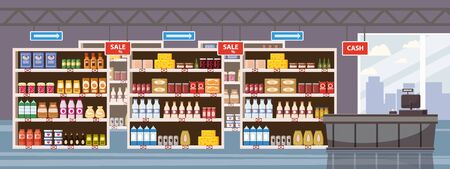 Illustration for Big Shop Super Market Shopping Mall Interior store inside shelves with dairy products - Royalty Free Image