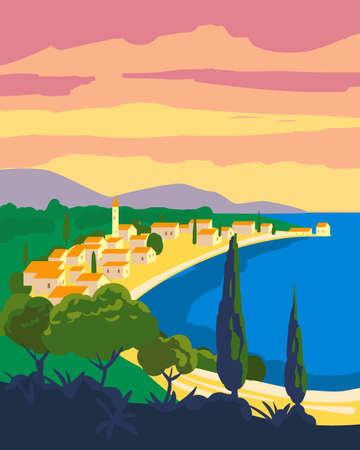 Illustration pour Travel poster retro old city Mediterranean sea vacation Europe. Holiday summer voyage seaside sunset. Vintage style vector illustration - image libre de droit