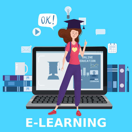 Illustration for E-learning girl studying with computer and books, smile. The concept of online learning at home, online test, distance learning. Vector illustration isolated - Royalty Free Image