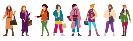 Illustration for Group of womans wearing surgical masks, prevention and safety. Quarantine coronavirus 2019-nCoV 2 wave epidemic precautions. Trendy style vector illustration isolated - Royalty Free Image