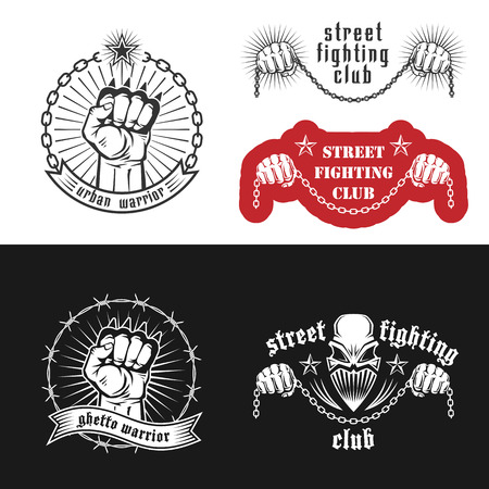Vector illustration street fighting club emblems with skull, brass knuckles, stars and inscriptions. Street fighting club. Urban warrior. Ghetto warrior.