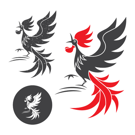 Illustration pour Cock crow. Vector silhouette of the rooster on white and black background. - image libre de droit