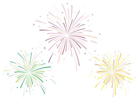 Illustration pour Vector illustration of fireworks on white background - image libre de droit