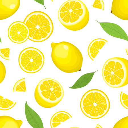Illustration pour Vector seamless background of citrus product - lemon with leaves on white background. Whole fruits and slices. Cover design. - image libre de droit