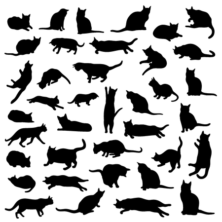 Illustration for Vector set of isolated cat silhouettes and various poses - Royalty Free Image