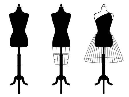 Photo pour Vector set of isolated female mannequins - image libre de droit