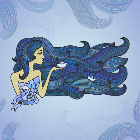 Illustration pour Girl with long colorful swirl hair with three paper ships - image libre de droit