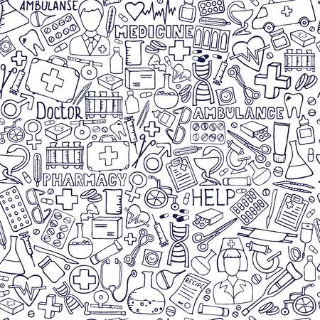 Illustration pour Hand drawn medicine pattern. Health care, pharmacy doodle seamless background. Vector doodle illustrations. - image libre de droit