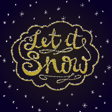 Let it snow. Christmas retro poster with hand lettering and winter decoration elements. Isolated typography design element for greeting cards, posters and T-shirt. Gold vector texture