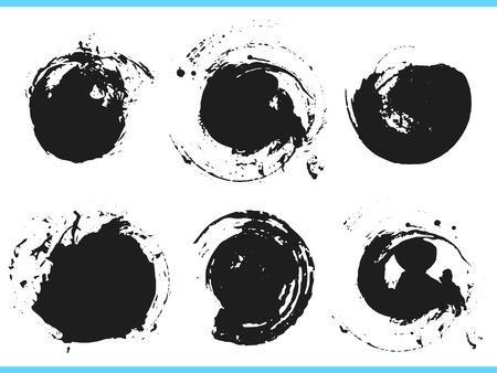 Illustration for Brush strokes. Vector paintbrush set. Round grunge design elements. Frames for text. Dirty texture banners. Ink splatters. Painted objects. - Royalty Free Image