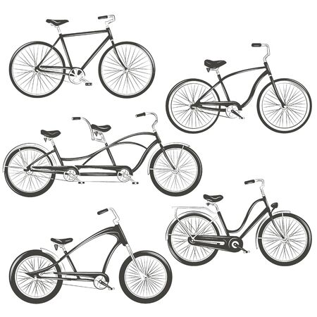 Illustration pour Bicycle Vector illustration. Set with four different bicycles: single, chopper, cruiser, tandem. T-shirt Graphics, Tattoo Designs - image libre de droit