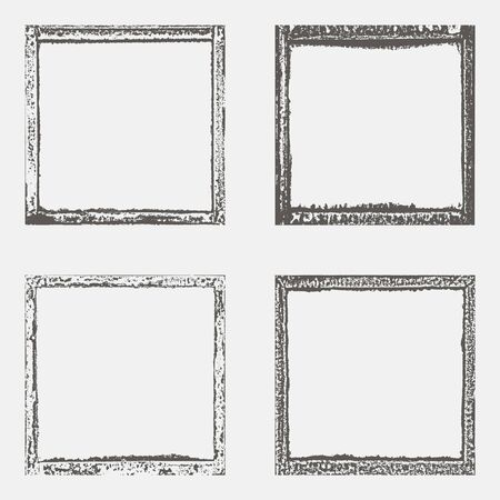 Illustration pour Set with four grunge border texture in black and white. Textured background, frame. Vector template. - image libre de droit