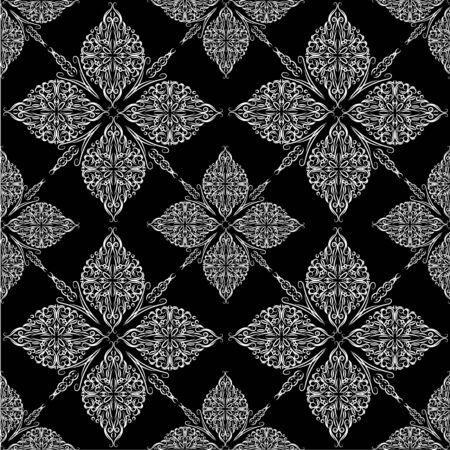 Illustration pour Ornate vintage seamless damask background. Floral baroque ornament in Victorian style. Pattern design, decorative retro decor, vector illustration - image libre de droit