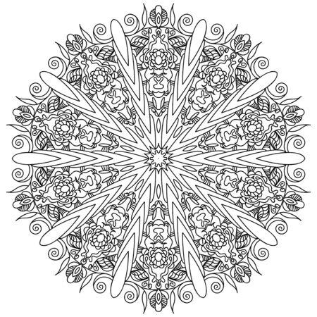Illustration for Decorative mandala. Vector illustration. Outline drawing. Ornate line art element. Ornamental floral pattern for wedding invitations, greeting cards. - Royalty Free Image