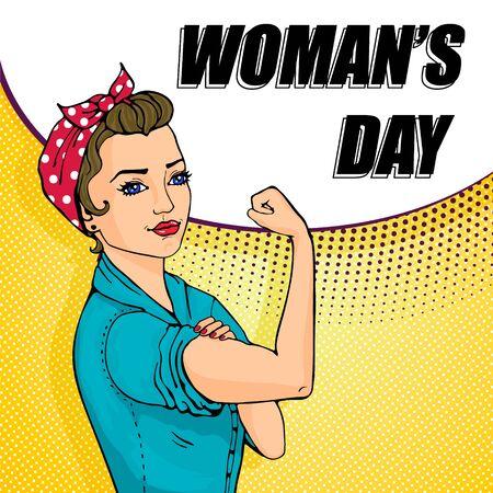 Ilustración de We Can Do It cartoon woman with speech buble - Imagen libre de derechos
