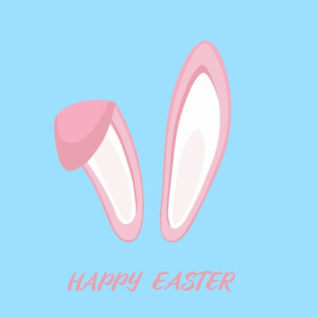Illustration pour Happy Easter design with bunny ears for poster, banner or invitation cards. Vector illustration - image libre de droit