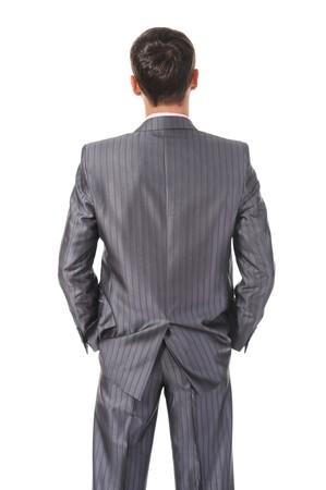 Image businessman behind. Isolated on white background
