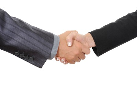 Handshake two business partners. Isolated on whiteの写真素材