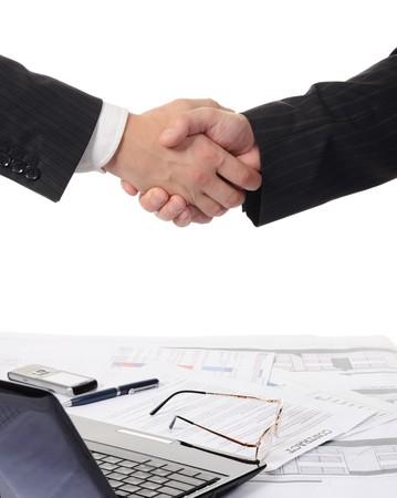 Photo pour Handshake of two business partners - image libre de droit