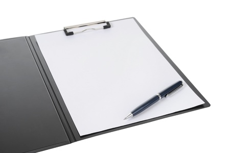 Clipboard and paper isolated on white background