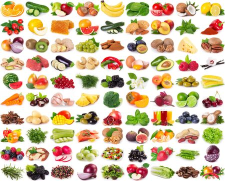 Foto de collection of healthy food isolated on white background - Imagen libre de derechos
