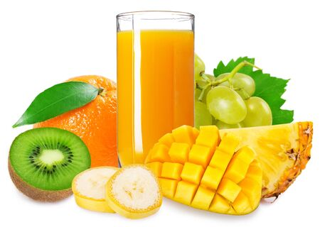 Photo pour glass of fresh juice with tropical fruits isolated on white background - image libre de droit