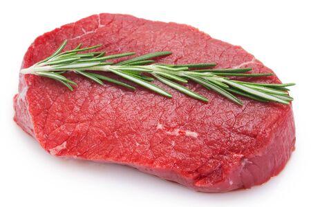 Foto de raw beef steak isolated on white background - Imagen libre de derechos