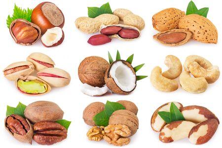 Foto de collection of nuts isolated on white background - Imagen libre de derechos