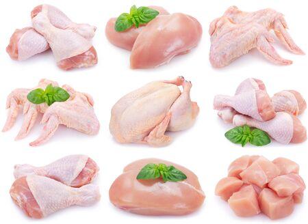 Foto de collection of raw chicken isolated on white background - Imagen libre de derechos