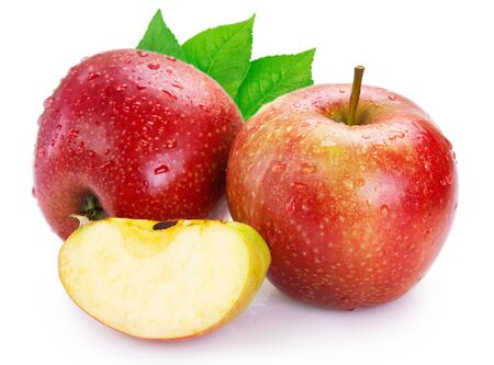Photo pour fresh red apple isolated on white background closeup - image libre de droit
