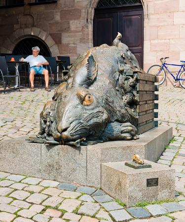 NUREMBERG, GERMANY JULY 22: the rabbit Der Hase from Duerer 1984 from Juergen Goertz. Nuremberg accommodates annually more than 2 millions tourists