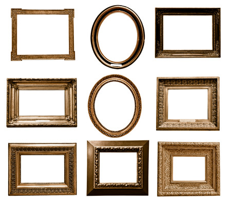 Photo for antique wooden frame On white background - Royalty Free Image