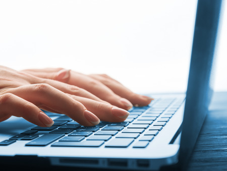 Photo for Close-up of typing female hands on keyboard - Royalty Free Image
