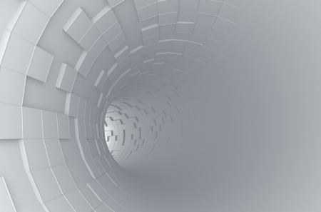 Abstract 3d rendering of futuristic tunnel. Background with sci-fi pipe and chaotic cubes.