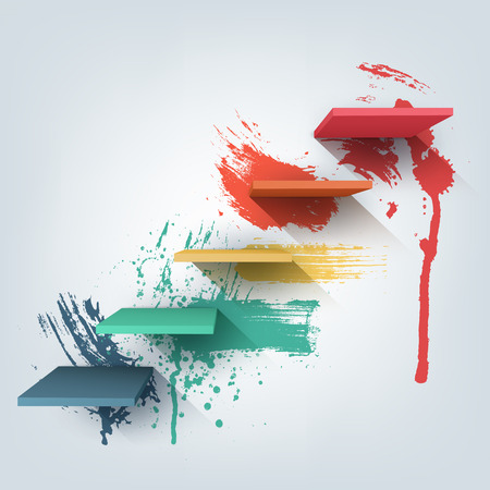 Abstract vector Illustration. Composition of 3d stairs with paint splash texture. Background pattern design for banner, flyer, cover, poster, brochure. Stages of learning, steps of education concept.