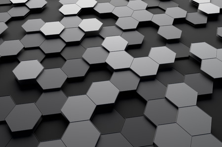 Photo pour Abstract 3d rendering of futuristic surface with hexagons. Sci-fi background. - image libre de droit