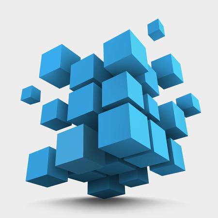 Abstract vector Illustration. Composition of blue 3d cubes. Background design for banner, poster, flyer. Logo design.